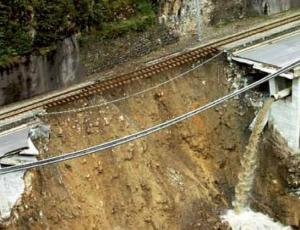 Railway, road, communication, and water supply disrupted by a land slide (natural hazard)